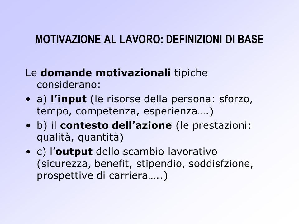 MOTIVAZIONE AL LAVORO: DEFINIZIONI DI BASE Le domande motivazionali tipiche considerano: a) linput (le risorse della persona: sforzo, tempo, competenz