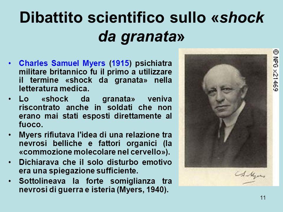 11 Dibattito scientifico sullo «shock da granata» Charles Samuel Myers (1915) psichiatra militare britannico fu il primo a utilizzare il termine «shock da granata» nella letteratura medica.