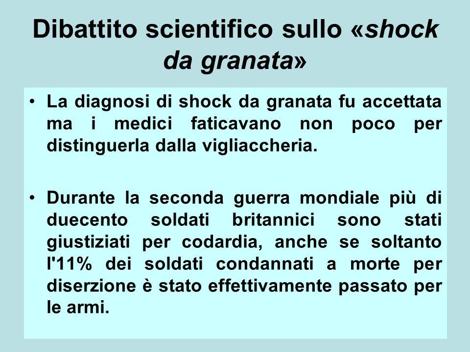 12 Dibattito scientifico sullo «shock da granata» La diagnosi di shock da granata fu accettata ma i medici faticavano non poco per distinguerla dalla vigliaccheria.