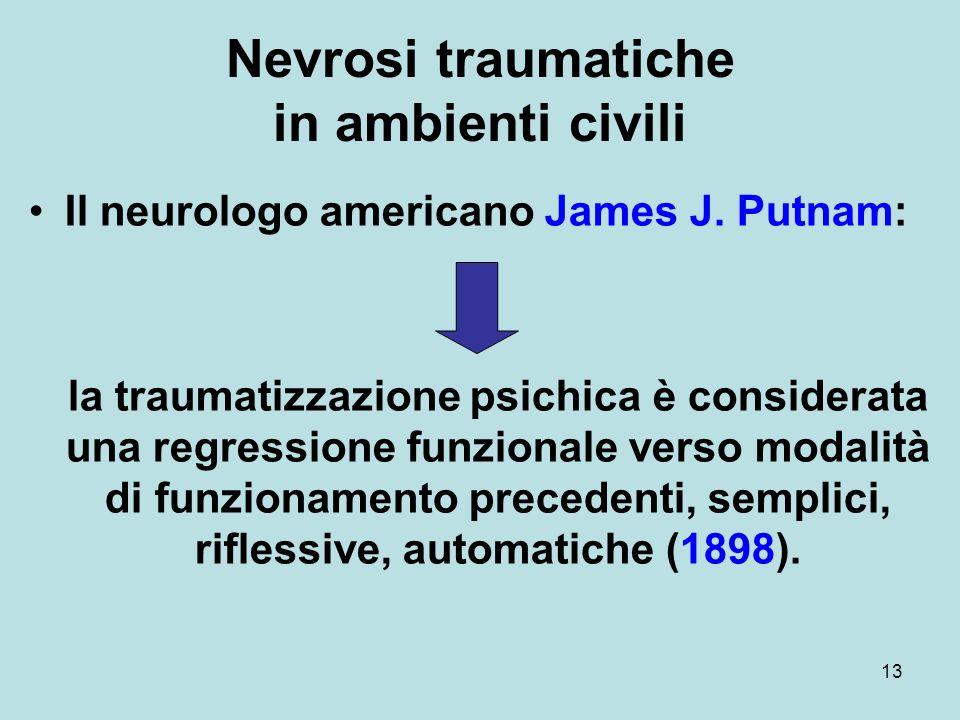 13 Nevrosi traumatiche in ambienti civili Il neurologo americano James J.