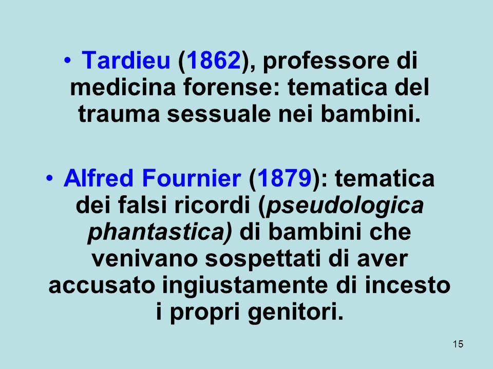 15 Tardieu (1862), professore di medicina forense: tematica del trauma sessuale nei bambini.