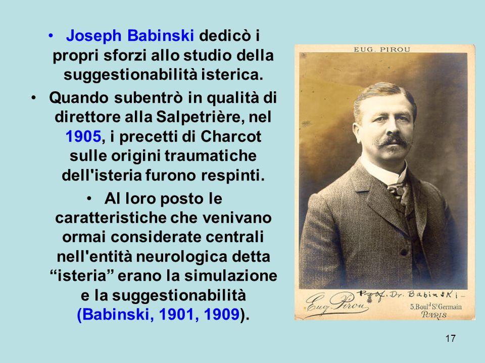 17 Joseph Babinski dedicò i propri sforzi allo studio della suggestionabilità isterica.