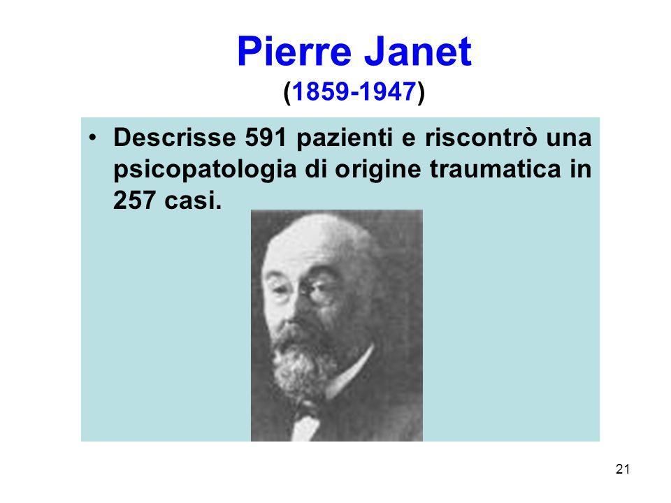 21 Descrisse 591 pazienti e riscontrò una psicopatologia di origine traumatica in 257 casi.