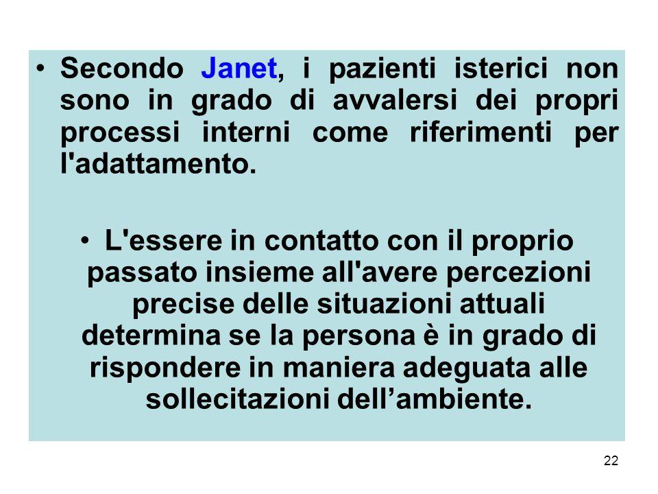 22 Secondo Janet, i pazienti isterici non sono in grado di avvalersi dei propri processi interni come riferimenti per l adattamento.