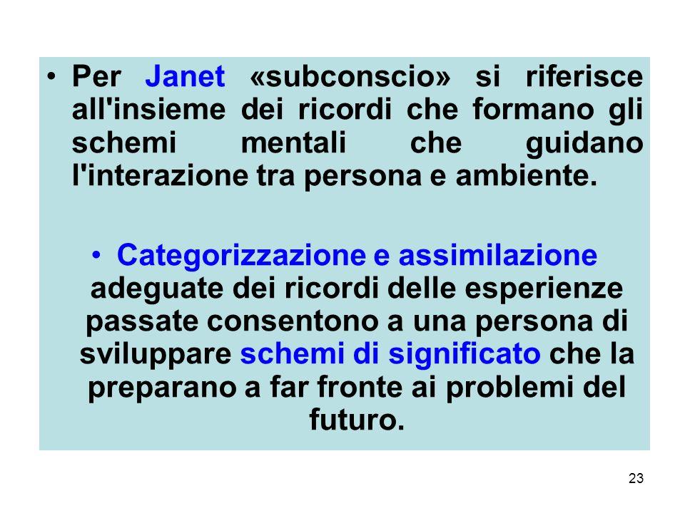23 Per Janet «subconscio» si riferisce all insieme dei ricordi che formano gli schemi mentali che guidano l interazione tra persona e ambiente.