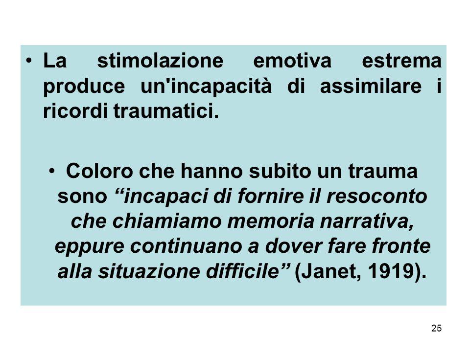 25 La stimolazione emotiva estrema produce un incapacità di assimilare i ricordi traumatici.