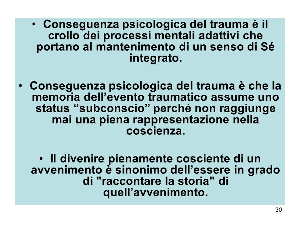 30 Conseguenza psicologica del trauma è il crollo dei processi mentali adattivi che portano al mantenimento di un senso di Sé integrato.