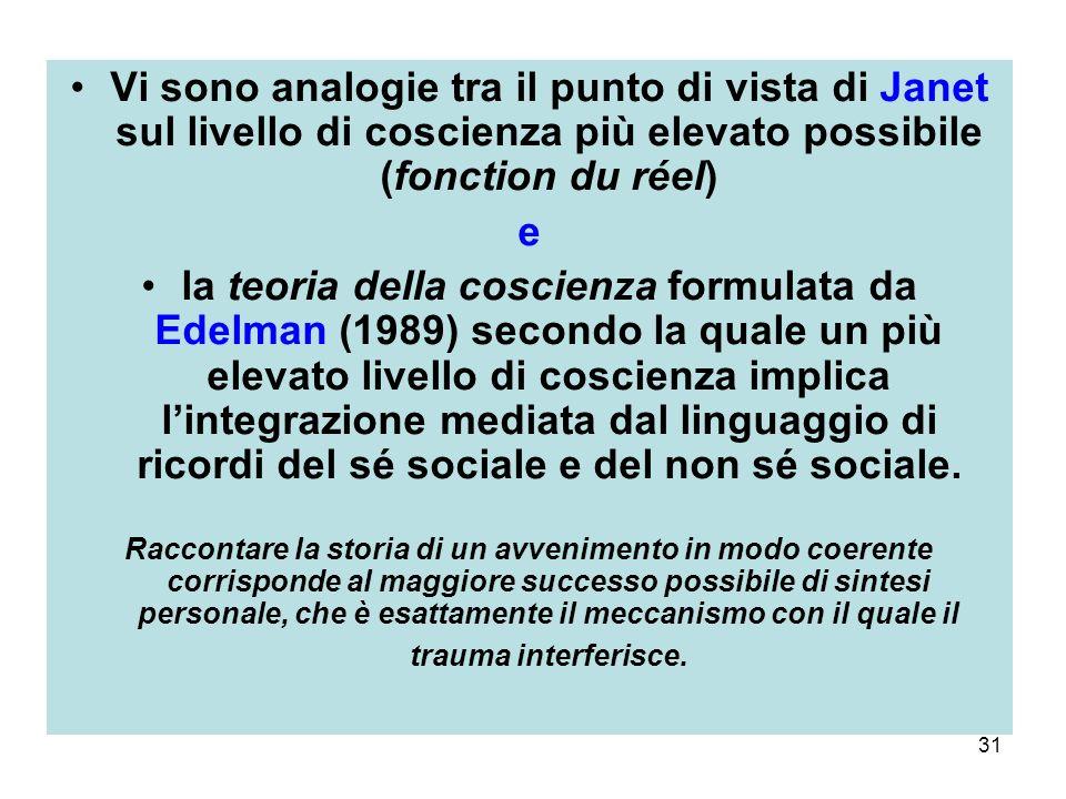 31 Vi sono analogie tra il punto di vista di Janet sul livello di coscienza più elevato possibile (fonction du réel) e la teoria della coscienza formulata da Edelman (1989) secondo la quale un più elevato livello di coscienza implica lintegrazione mediata dal linguaggio di ricordi del sé sociale e del non sé sociale.