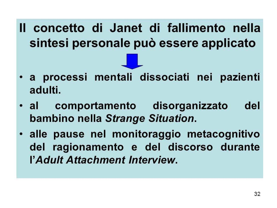32 Il concetto di Janet di fallimento nella sintesi personale può essere applicato a processi mentali dissociati nei pazienti adulti.