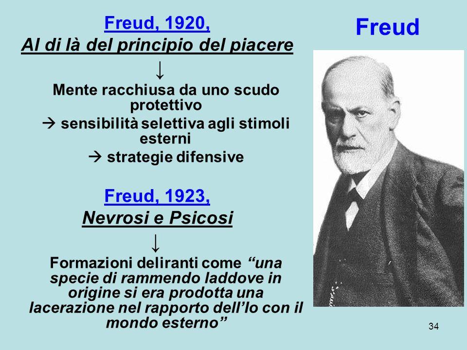 34 Freud, 1920, Al di là del principio del piacere Mente racchiusa da uno scudo protettivo sensibilità selettiva agli stimoli esterni strategie difensive Freud, 1923, Nevrosi e Psicosi Formazioni deliranti come una specie di rammendo laddove in origine si era prodotta una lacerazione nel rapporto dellIo con il mondo esterno Freud