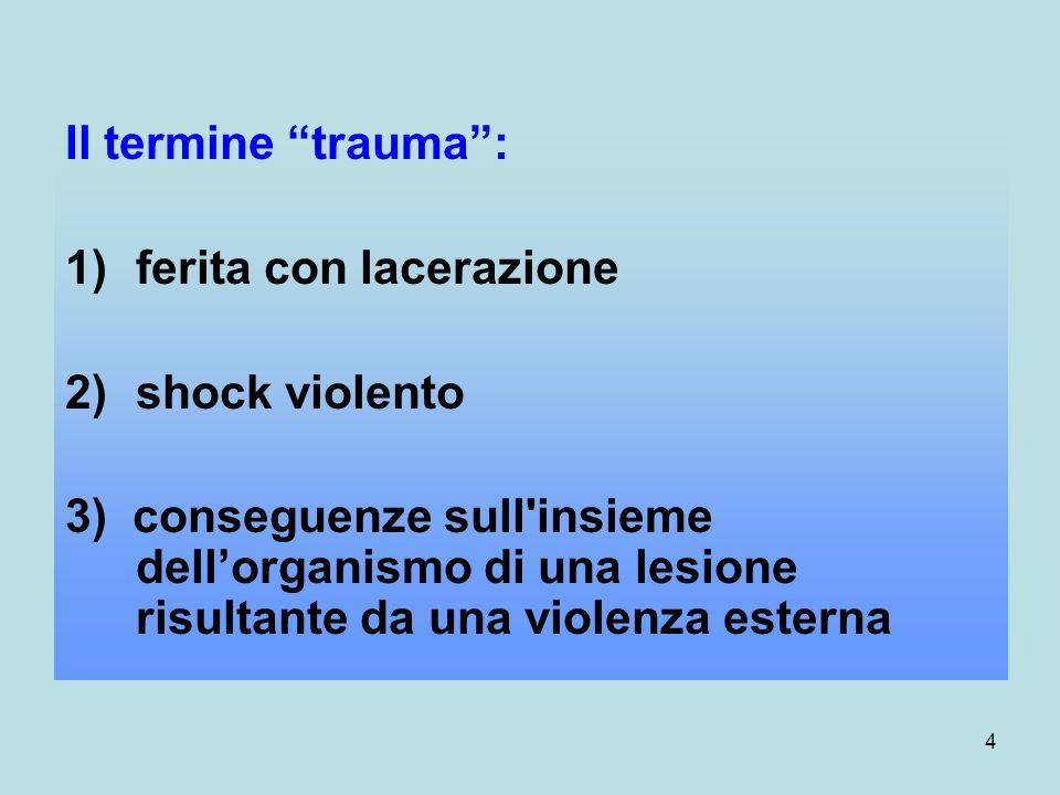 4 Il termine trauma: 1)ferita con lacerazione 2)shock violento 3) conseguenze sull insieme dellorganismo di una lesione risultante da una violenza esterna
