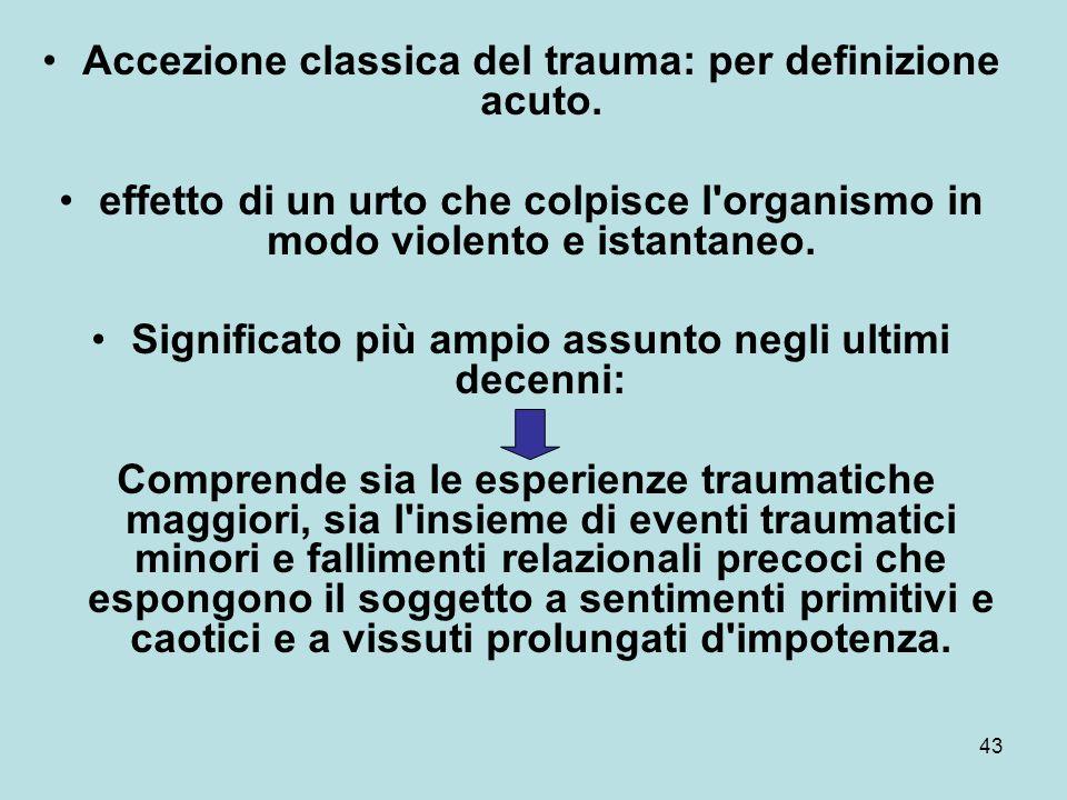 43 Accezione classica del trauma: per definizione acuto.