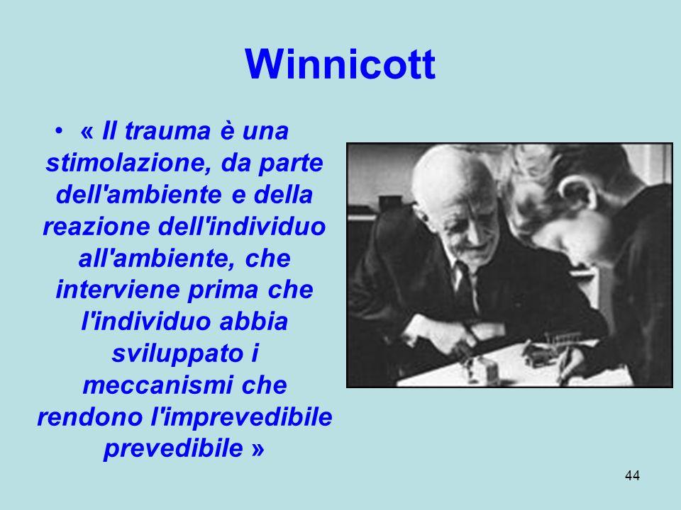 44 Winnicott « Il trauma è una stimolazione, da parte dell ambiente e della reazione dell individuo all ambiente, che interviene prima che l individuo abbia sviluppato i meccanismi che rendono l imprevedibile prevedibile »
