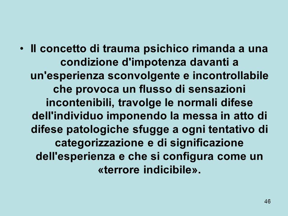 46 Il concetto di trauma psichico rimanda a una condizione d impotenza davanti a un esperienza sconvolgente e incontrollabile che provoca un flusso di sensazioni incontenibili, travolge le normali difese dell individuo imponendo la messa in atto di difese patologiche sfugge a ogni tentativo di categorizzazione e di significazione dell esperienza e che si configura come un «terrore indicibile».
