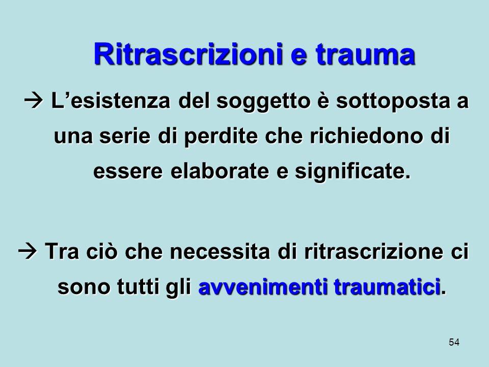 54 Ritrascrizioni e trauma Lesistenza del soggetto è sottoposta a una serie di perdite che richiedono di essere elaborate e significate.