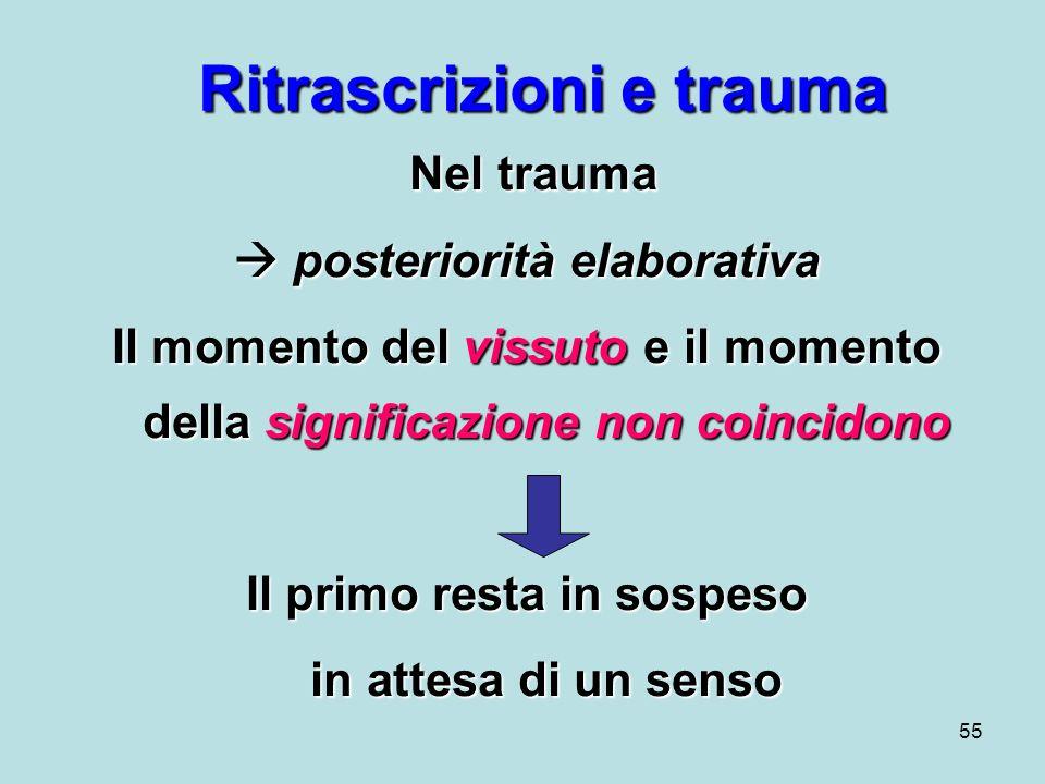 55 Ritrascrizioni e trauma Nel trauma Nel trauma posteriorità elaborativa posteriorità elaborativa Il momento del vissuto e il momento della significazione non coincidono Il primo resta in sospeso in attesa di un senso in attesa di un senso