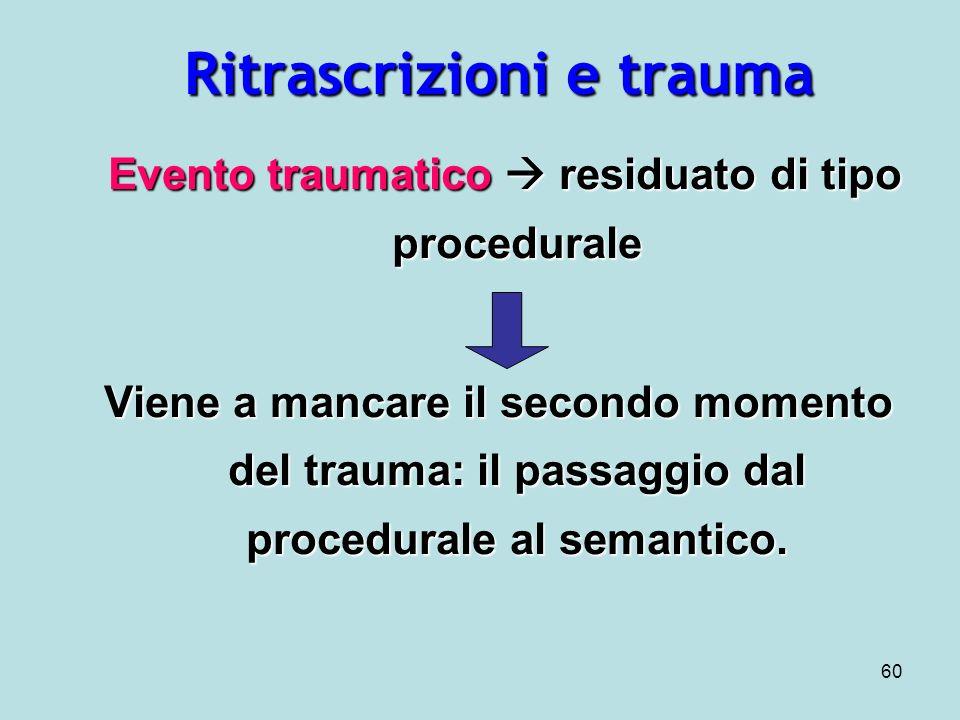 60 Ritrascrizioni e trauma Evento traumatico residuato di tipo procedurale Evento traumatico residuato di tipo procedurale Viene a mancare il secondo momento del trauma: il passaggio dal procedurale al semantico.