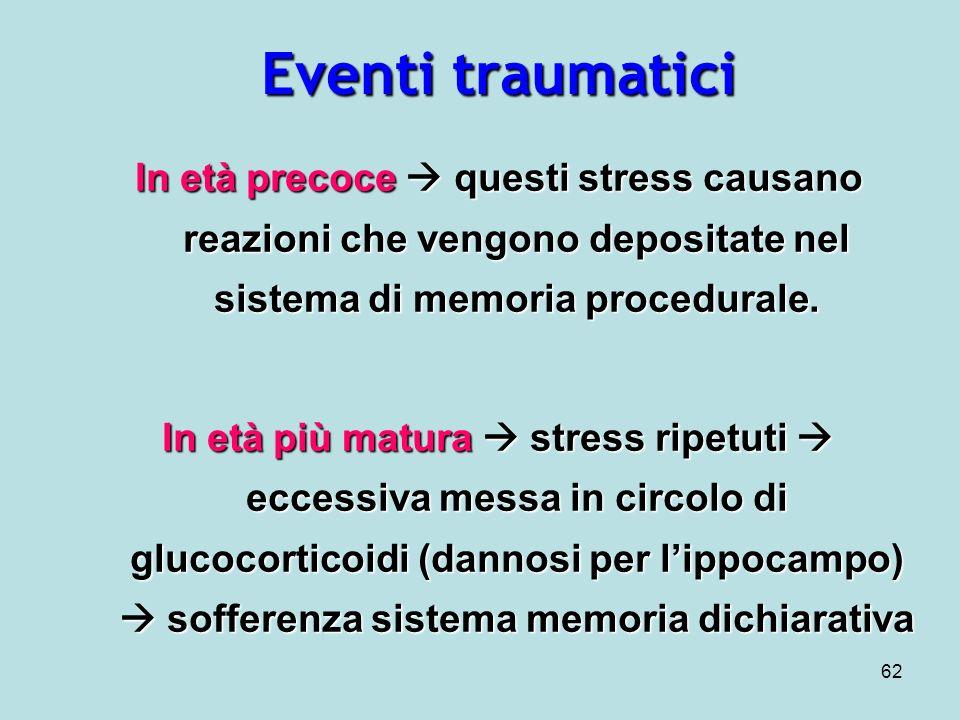 62 Eventi traumatici In età precoce questi stress causano reazioni che vengono depositate nel sistema di memoria procedurale.