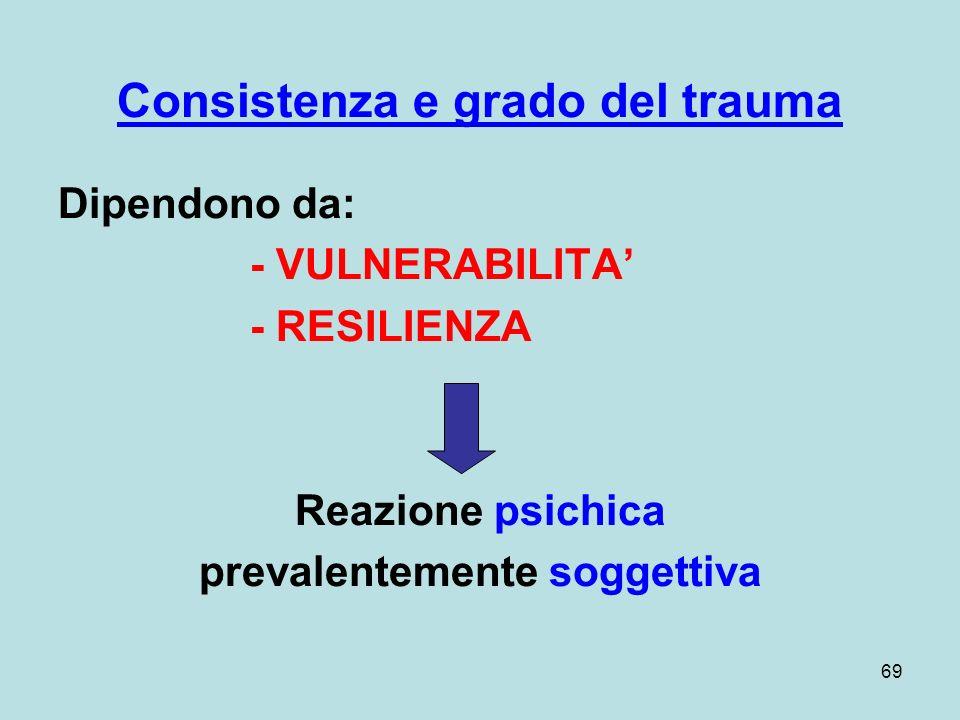 69 Consistenza e grado del trauma Dipendono da: - VULNERABILITA - RESILIENZA Reazione psichica prevalentemente soggettiva