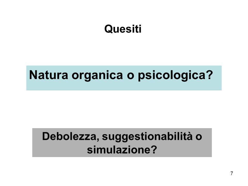 7 Quesiti Natura organica o psicologica? Debolezza, suggestionabilità o simulazione?