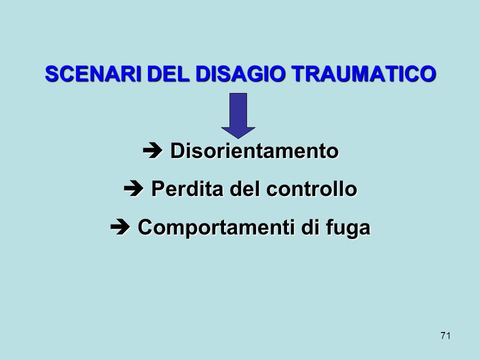 71 SCENARI DEL DISAGIO TRAUMATICO Disorientamento Disorientamento Perdita del controllo Perdita del controllo Comportamenti di fuga Comportamenti di fuga