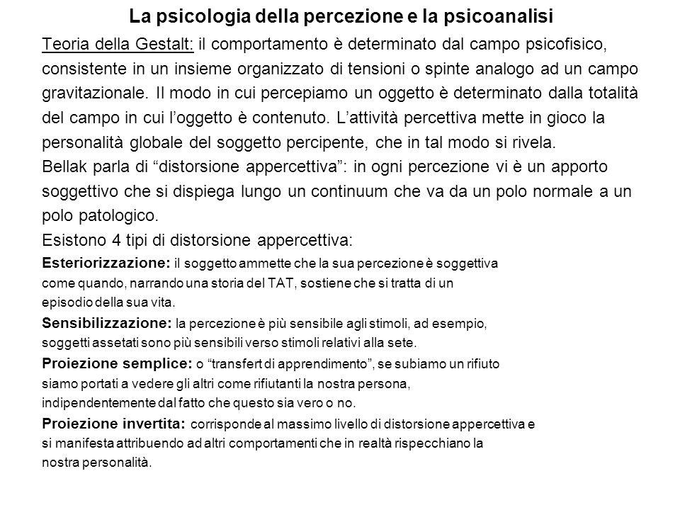 La psicologia della percezione e la psicoanalisi Teoria della Gestalt: il comportamento è determinato dal campo psicofisico, consistente in un insieme