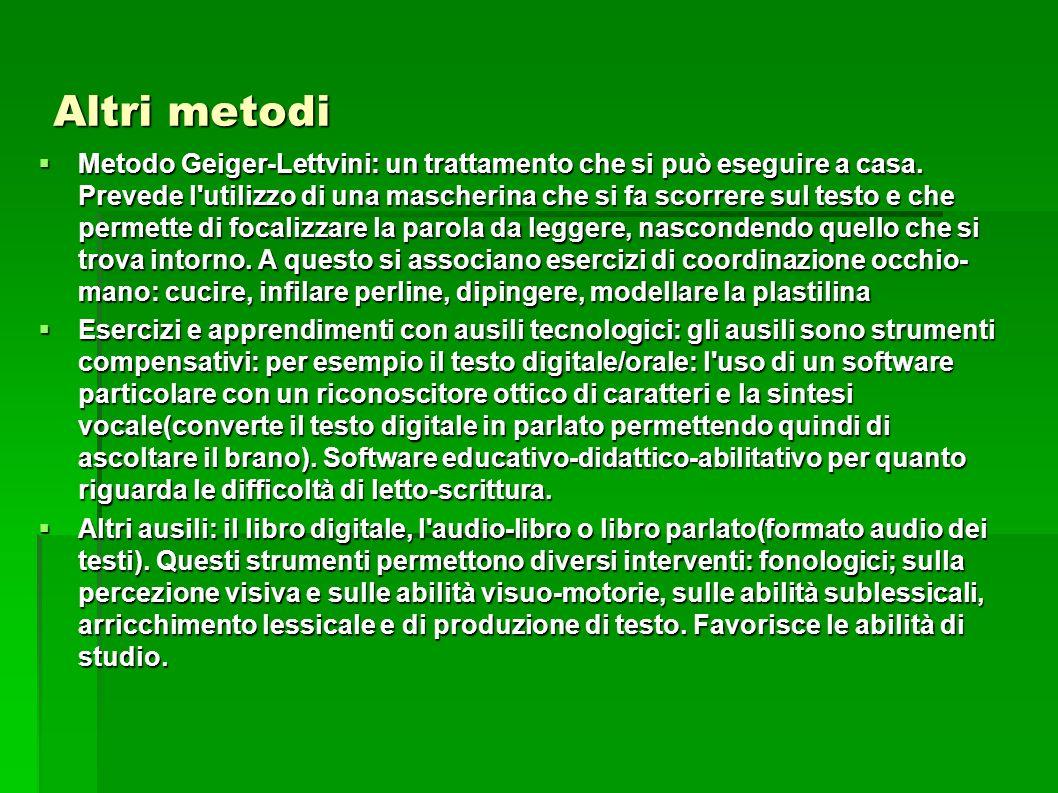 Altri metodi Metodo Geiger-Lettvini: un trattamento che si può eseguire a casa. Prevede l'utilizzo di una mascherina che si fa scorrere sul testo e ch