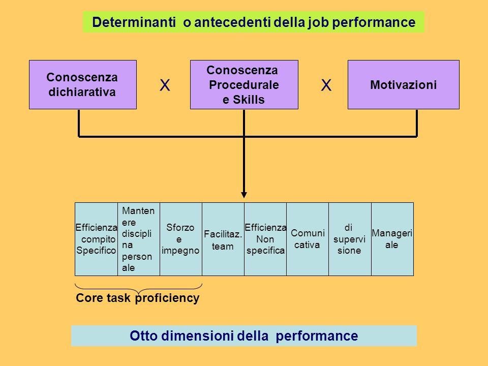 Conoscenza dichiarativa (DK) Conoscenza dei fatti e comprensione delle richieste del compito Fatti Principi Scopi Conoscenza di sé Conoscenza Procedurale (PK) Conoscenza del come fare le cose Skill cognitive Skill psicomotorie Skill fisiche Skill di auto gestione Skill interpersonali Motivazioni Le scelte che fanno gli individuii Scelta di operare Livello di sforzo Persistenza nello sforzo Vari meccanismi Motivazionali (cfr.