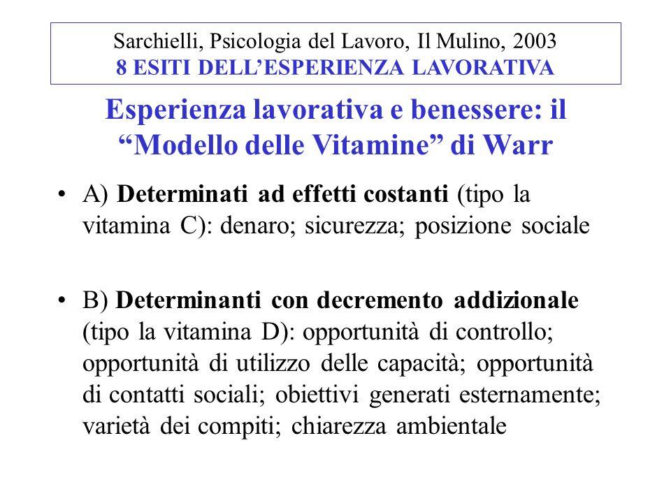A) Determinati ad effetti costanti (tipo la vitamina C): denaro; sicurezza; posizione sociale B) Determinanti con decremento addizionale (tipo la vita