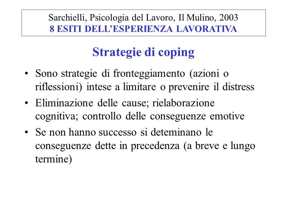Sono strategie di fronteggiamento (azioni o riflessioni) intese a limitare o prevenire il distress Eliminazione delle cause; rielaborazione cognitiva;