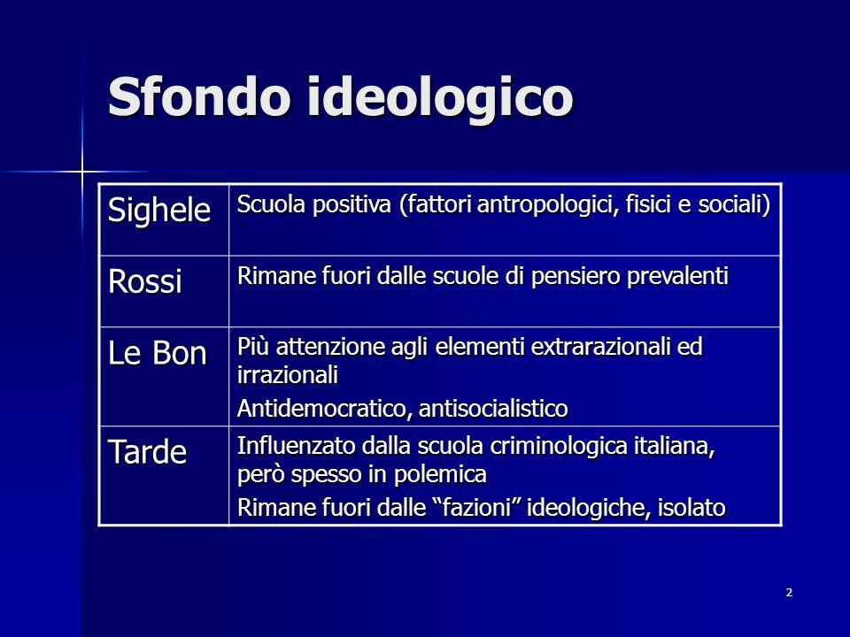 2 Sfondo ideologico Sighele Scuola positiva (fattori antropologici, fisici e sociali) Rossi Rimane fuori dalle scuole di pensiero prevalenti Le Bon Pi