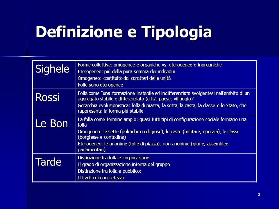 3 Definizione e Tipologia Sighele Forme collettive: omogenee e organiche vs. eterogenee e inorganiche Eterogeneo: più della pura somma dei individui O