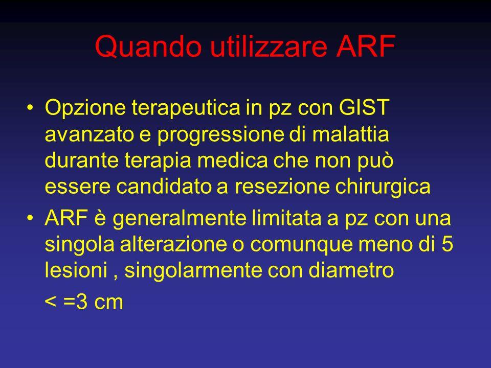 Quando utilizzare ARF Opzione terapeutica in pz con GIST avanzato e progressione di malattia durante terapia medica che non può essere candidato a res