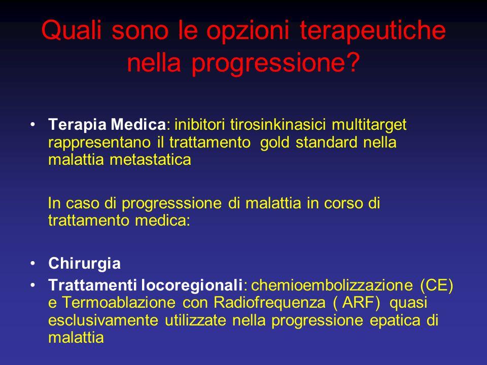 Quali sono le opzioni terapeutiche nella progressione? Terapia Medica: inibitori tirosinkinasici multitarget rappresentano il trattamento gold standar