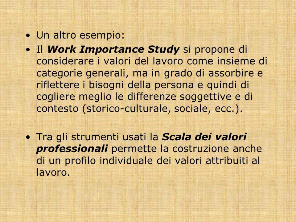 Un altro esempio: Il Work Importance Study si propone di considerare i valori del lavoro come insieme di categorie generali, ma in grado di assorbire