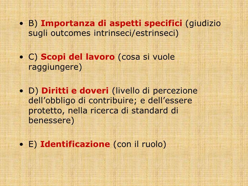 B) Importanza di aspetti specifici (giudizio sugli outcomes intrinseci/estrinseci) C) Scopi del lavoro (cosa si vuole raggiungere) D) Diritti e doveri