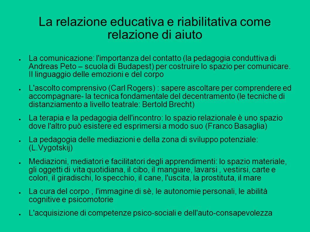 La relazione educativa e riabilitativa come relazione di aiuto La comunicazione: l importanza del contatto (la pedagogia conduttiva di Andreas Peto – scuola di Budapest) per costruire lo spazio per comunicare.