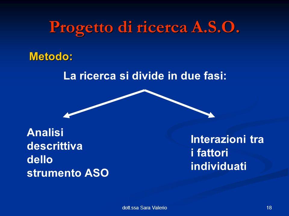18dott.ssa Sara Valerio Metodo: Progetto di ricerca A.S.O. La ricerca si divide in due fasi: Analisi descrittiva dello strumento ASO Interazioni tra i