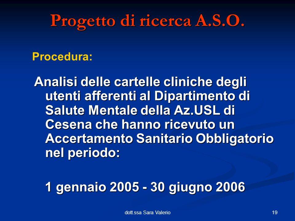 19dott.ssa Sara Valerio Analisi delle cartelle cliniche degli utenti afferenti al Dipartimento di Salute Mentale della Az.USL di Cesena che hanno rice