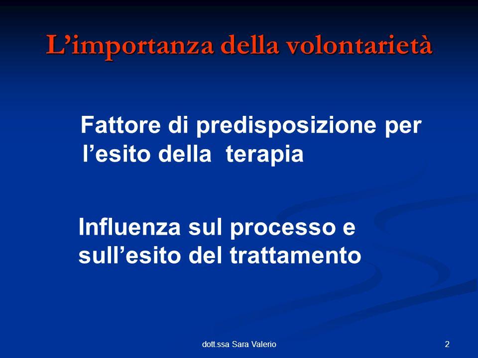 2dott.ssa Sara Valerio Fattore di predisposizione per lesito della terapia Limportanza della volontarietà Influenza sul processo e sullesito del tratt