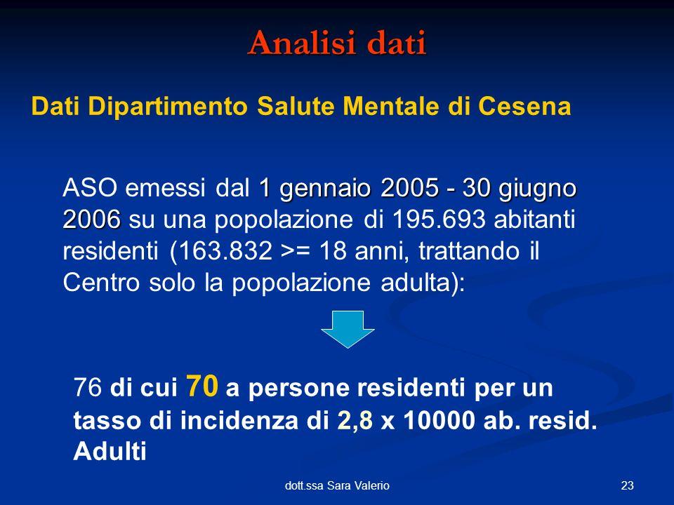 23dott.ssa Sara Valerio Analisi dati Dati Dipartimento Salute Mentale di Cesena 1 gennaio 2005 - 30 giugno 2006 ASO emessi dal 1 gennaio 2005 - 30 giu