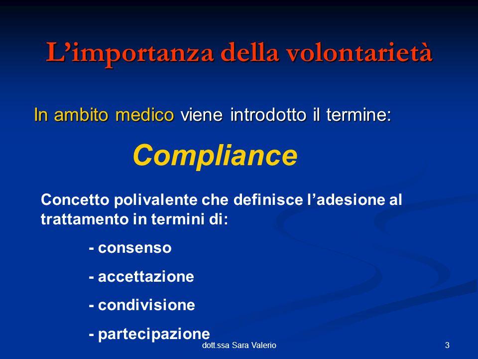 3dott.ssa Sara Valerio In ambito medico viene introdotto il termine: Limportanza della volontarietà Compliance Concetto polivalente che definisce lade