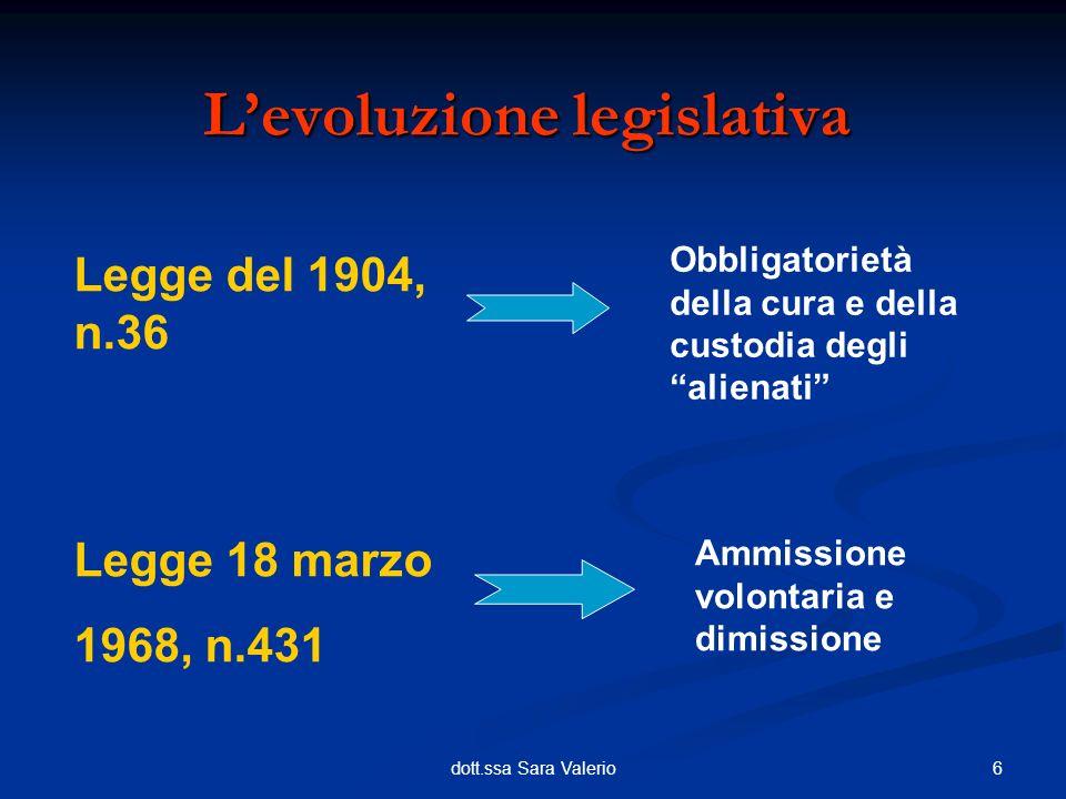 7dott.ssa Sara Valerio Il concetto di volontarietà con la Legge del 1968 contribuisce alla sostituzione del principio di custodia con quello di cura Viene abrogato lobbligo di annotazione dei provvedimenti di ricovero e delliscrizione al casellario giudiziario (art.11, L1968, n.431) Levoluzione legislativa