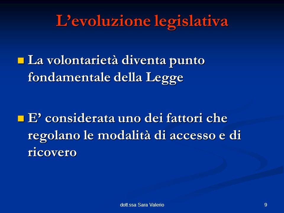 9dott.ssa Sara Valerio La volontarietà diventa punto fondamentale della Legge La volontarietà diventa punto fondamentale della Legge E considerata uno