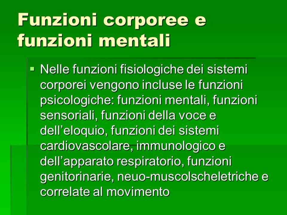 Funzioni corporee e funzioni mentali Nelle funzioni fisiologiche dei sistemi corporei vengono incluse le funzioni psicologiche: funzioni mentali, funz
