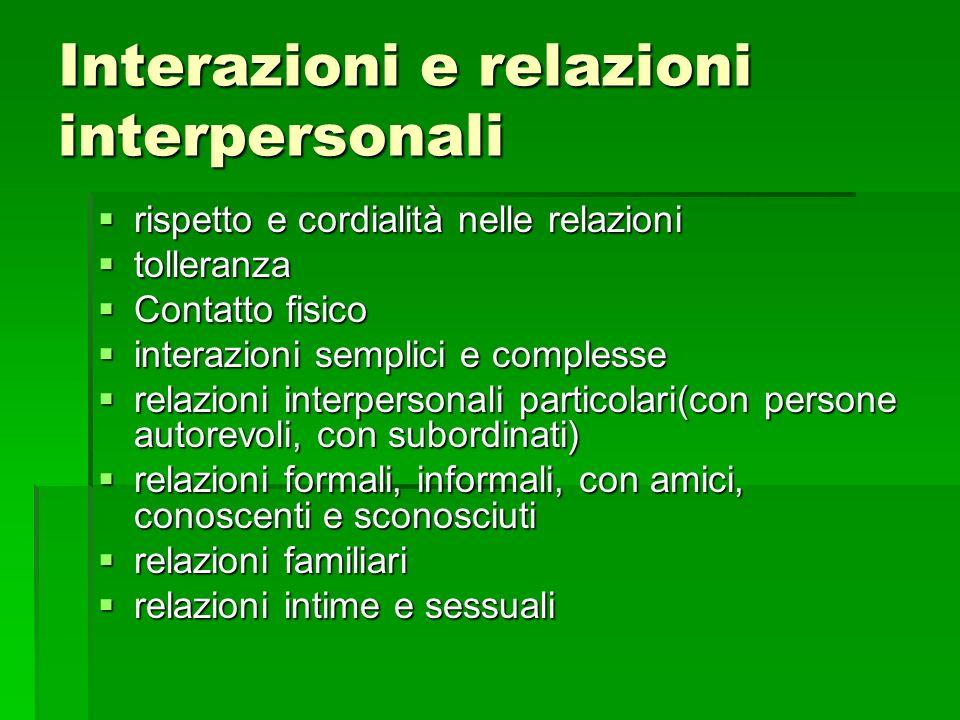 Interazioni e relazioni interpersonali rispetto e cordialità nelle relazioni rispetto e cordialità nelle relazioni tolleranza tolleranza Contatto fisi