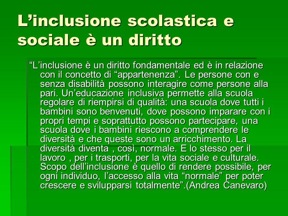 Linclusione scolastica e sociale è un diritto Linclusione è un diritto fondamentale ed è in relazione con il concetto di appartenenza. Le persone con