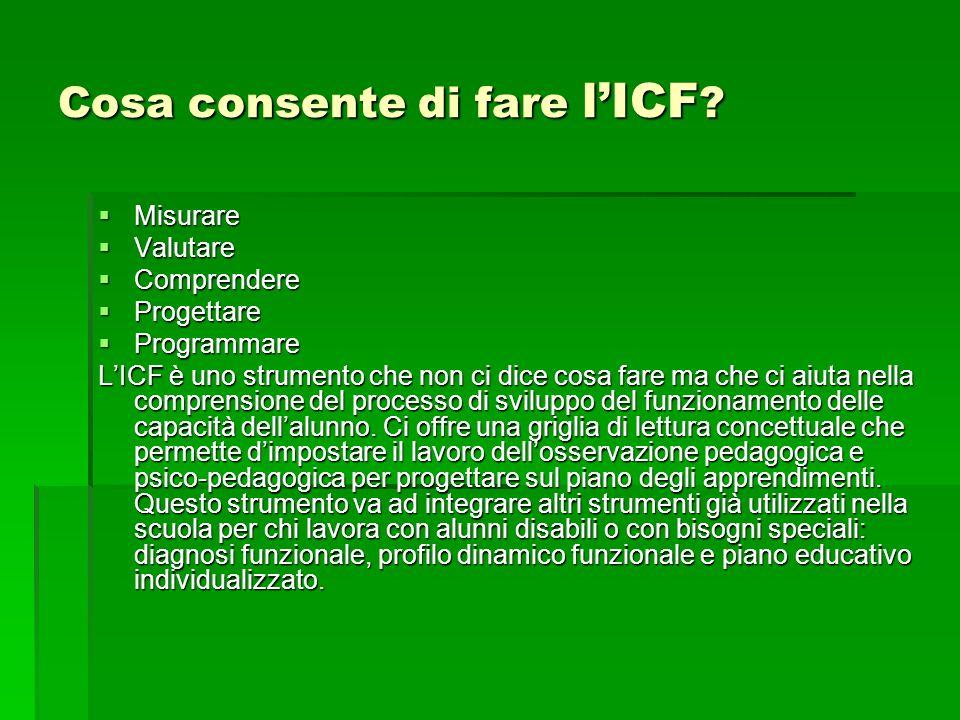 Cosa consente di fare lICF ? Misurare Misurare Valutare Valutare Comprendere Comprendere Progettare Progettare Programmare Programmare LICF è uno stru