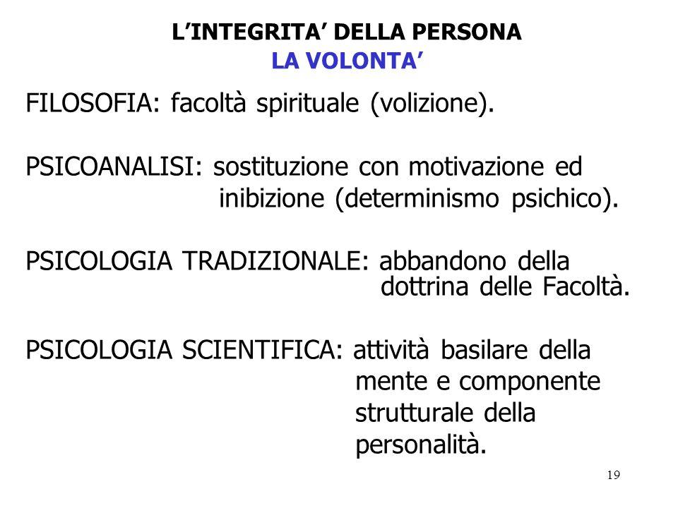 19 LINTEGRITA DELLA PERSONA LA VOLONTA FILOSOFIA: facoltà spirituale (volizione).