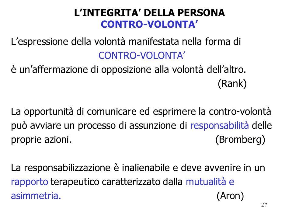 27 Lespressione della volontà manifestata nella forma di CONTRO-VOLONTA è unaffermazione di opposizione alla volontà dellaltro.